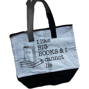 B&W graphic Book tote / Reading bag 100% cotton